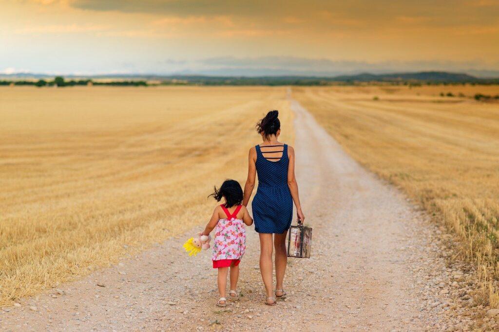 girl, family, path